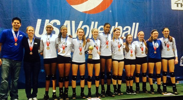 Members of TAV 13 Black show off their national championship medals on Monday. Team members include Courtney Crayton, Paige Flicking, Savannah Funk, Sydney Gholson, Alex Grooms, Logyn Hinds, Jayden Nembhard, Annabelle Smith, Lellah Smith and Madison Williams. Head coach is Corrine Aitchison and assistants are Joe Jablonski, Jonathan Nasgowitz and James Turk.