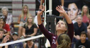 Caroline Shecterle (1) sets the Pearland attack.