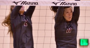 Ashley Waggle (2) and Morgyn Greer (11) put up a wall Friday night as top-ranked Dripping Springs swept Cedar Park.