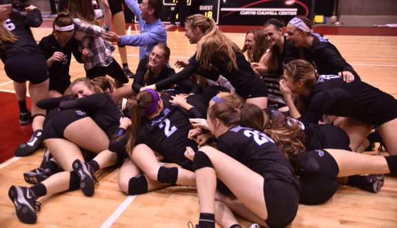 Hebron's Hawks and their version of the dogpile. (Photo by Gerald Castillo)