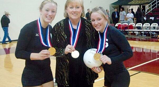 (left to right) Brianne, Jan and Danielle Barker show off their state medals during their days at Amarillo High School. Jan, with 1,034 career victories including 9 state championships, has started quite the pedigree for her two daughters, who are now both coaches in their own right.
