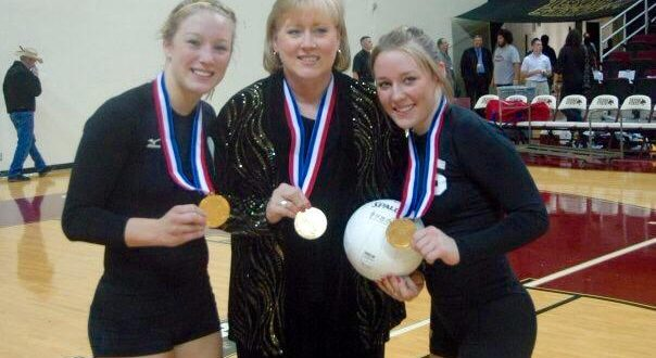 Flashback Photo: Jan Barker (center) with her state-medal winning daughters back in the mid-2000s. Daughters are Brianne (left) and Danielle (right)
