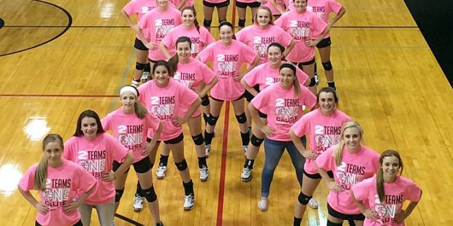 The Crawford volleyball team displays its outstanding Pink Out Night support in the battle against Breast Cancer. The team also won its 10th straight district championship Tuesday night.  Congrats, Crawford! Photo courtesy of Coach Jeff Coker