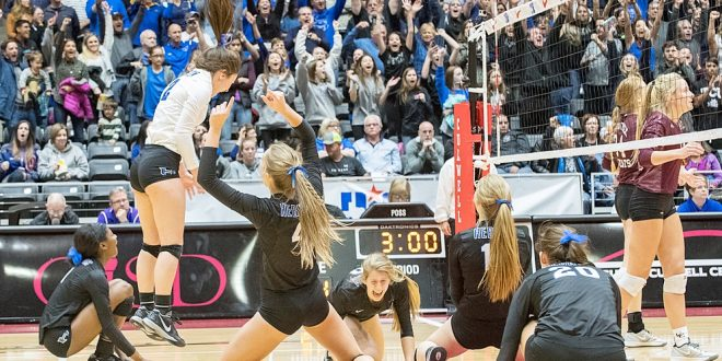 Hebron players celebrate their 3-set win over Clear Creek at the 6A state championships in Garland.